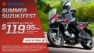 Suzuki Suzukifest DualSport and Adventure Motorcycle Financing as Low as 0% APR for 36 Months or Customer Cash Offer